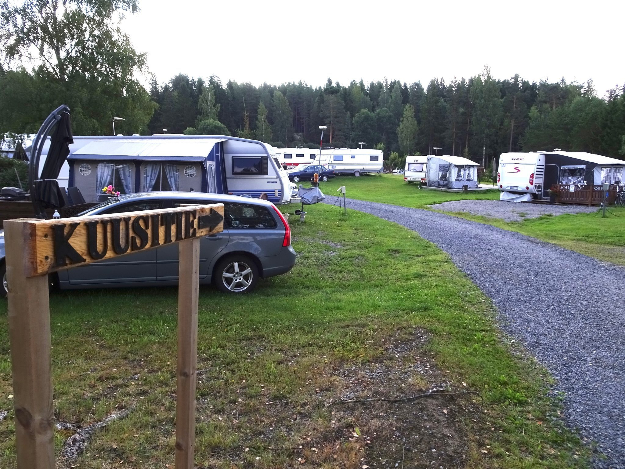 Row of caravans in Maisansalo